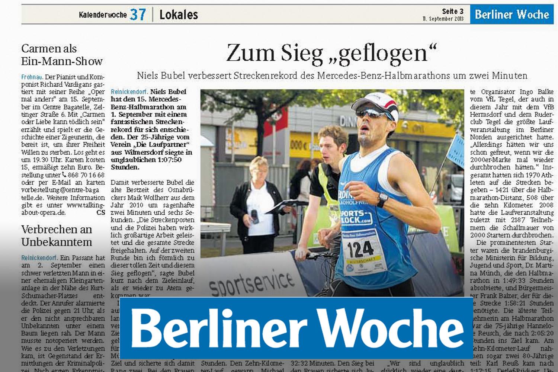 Berliner Woche - Niels Bubel - Zum Sieg geflogen - BBM Halbmarathon 2013 - Mercedes Benz Halbmarathon