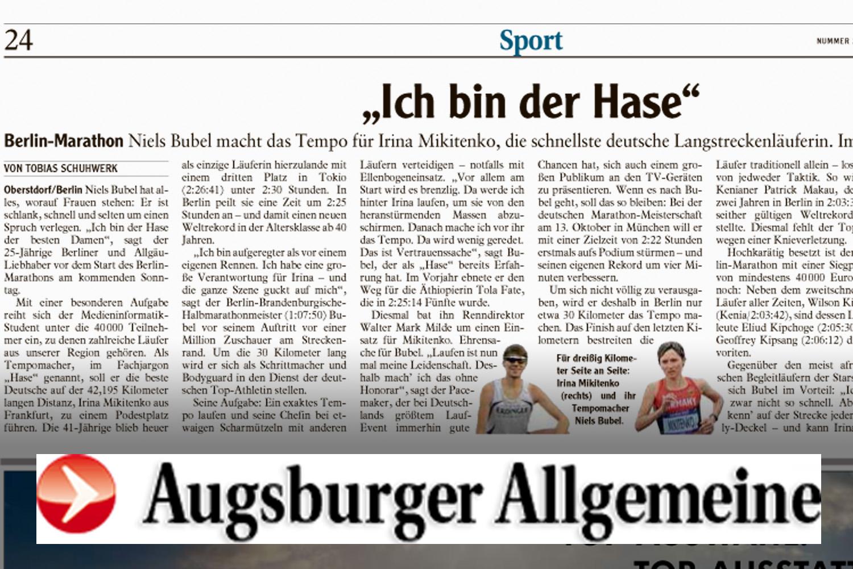 Augsbuger Allgemeine schreibt über Niels Bubel: 'Ich bin der Hase'